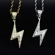 Colares de parafuso dourado e prata, pingentes de zircônio aaa, joias masculinas hiphop, drop shipping