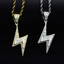 Gold Silver Color Iced Bolt Necklaces Fashion  AAA Zircon Pendant Lightning Pendants Jewelry Mens Hiphop Chains Drop Shipping
