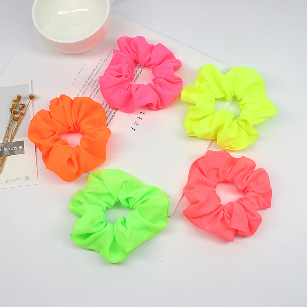 Neon Fluorescent Yellow Scrunchie Hair Accessory Bright Festival