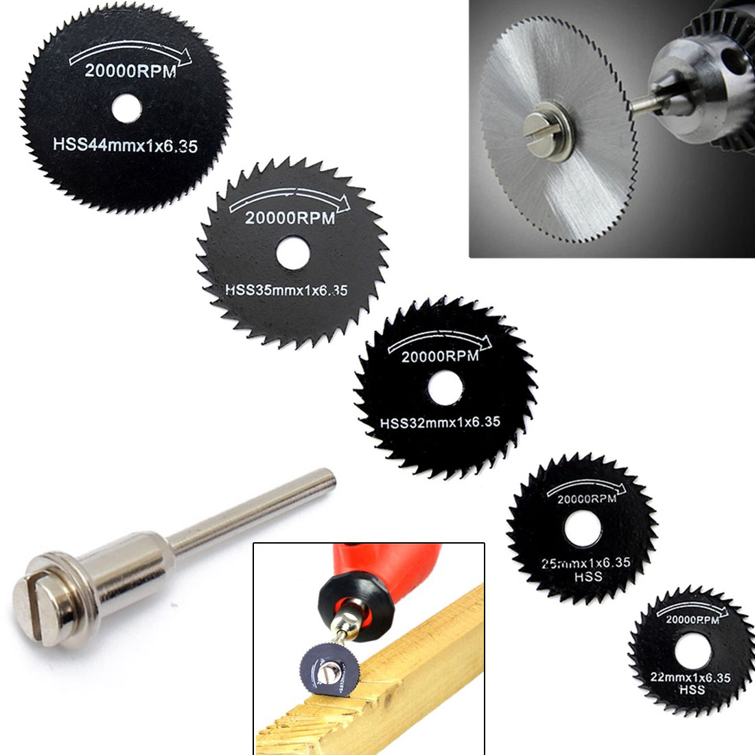 5pcs/set High Speed Steel Circular Saw Blade Disk Wood Cutting Disc Metal Cutter Power Tool Kit Rotary Tool Drill Mandrel
