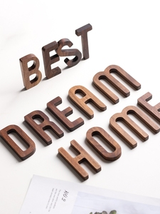 Image 2 - Musowood 1pcs Walnut Wooden letters High Quality Alphabet Design English DIY Craft Wedding Birthday Party Home Wall Decoration