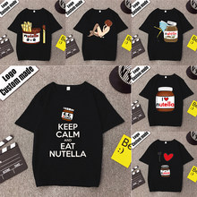 100% Cotton Streetwear T Shirt Men Nutella Hip Hop T-Shirt Keep Calm Women Short Sleeve Tshirts Blcak T Shirts(China)