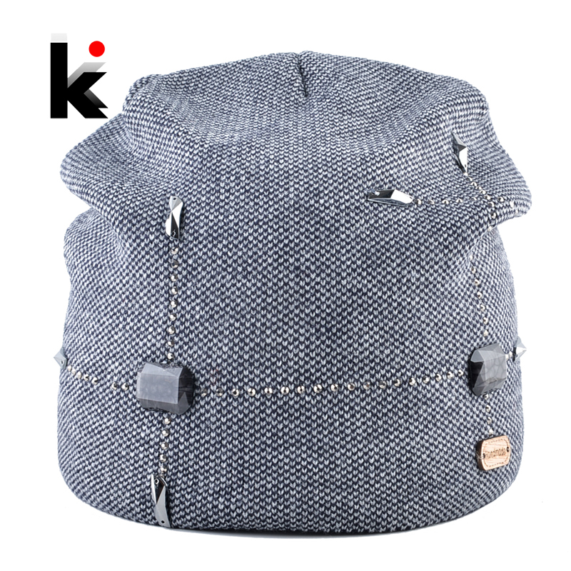 Winter Beanie Hats Ladies Warm Knitted Beanies Women High Quality Knitting Wool Skullies Caps With Rhinestone Female Bonnet Hat