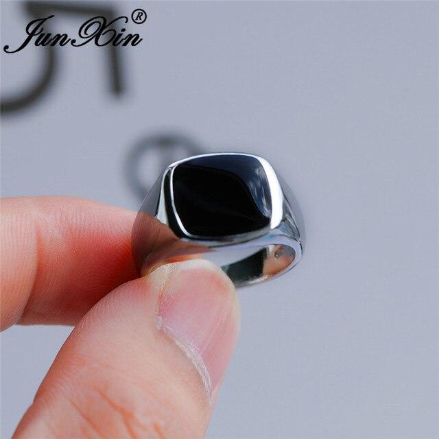 Vintage męskie czarne kamienne geometryczne pierścienie dla mężczyzn białe złoto żółte złoto kolor duże obrączki męskie biżuteria na przyjęcie zaręczynowe