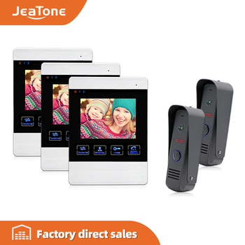 JeaTone 4 Wired Color LCD Video Door Phone Intercom Security Camera Hands Free Visual Intercom Record IR Night Vision Touch Key video doorbell 7 color lcd screen two way talk hands free door phone 1 camera 1 monitor intercom kit waterproof ir night vision