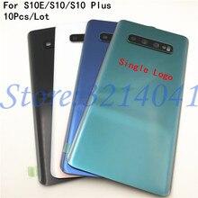 Стеклянная Крышка батарейного отсека для Samsung Galaxy S10 Plus S10e S10 S10 + G970 G9730 G9750 с объективом камеры 10 шт./лот