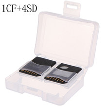 1pc Plastic CF/ SD TF Card Storage Box Protector Holder Hard Case Potable CF Carrying Memory Card Case Holder 1CF+4SD(China)