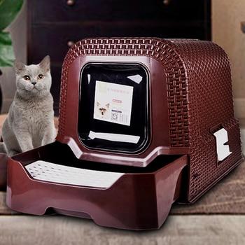 Caja de arena para gatos, Inodoro grande para mascotas, Kit de entrenamiento para gatos de mimbre cerrado, bandeja para mascotas inooro Kuwety Dla Kota Kitty, productos B70