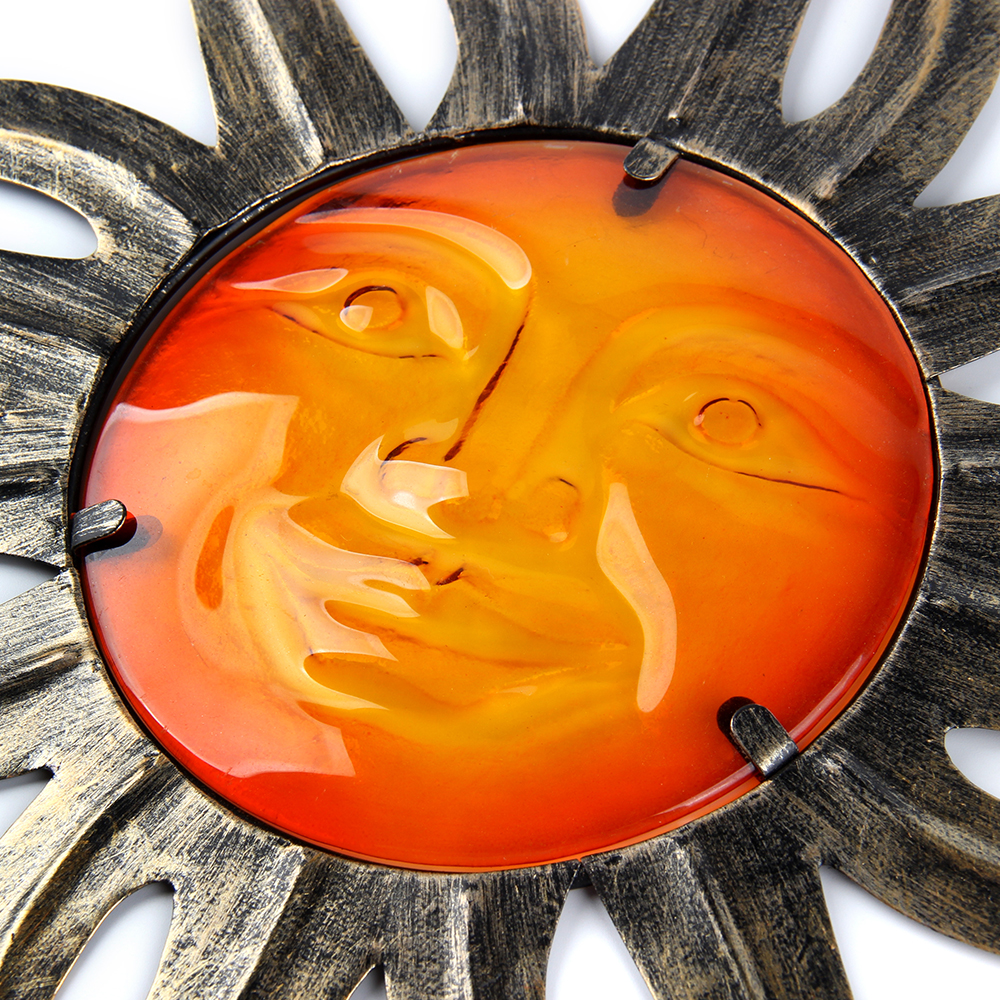 Металл Солнце Стена Украшение с Стеклом для Дома и Сада На улице Украшение Украшения и Двор Миниатюры Статуи