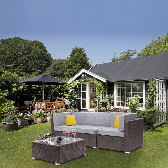 4 Pieces Patio PE Wicker Rattan Corner Comfortable Breathable Sofa Set For Home Living Room Bedroom Decoration 6