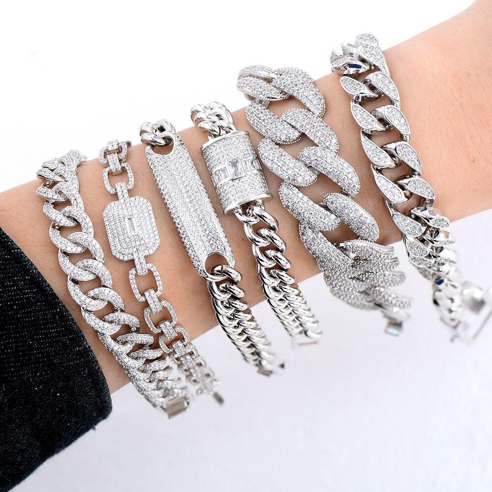 Image 2 - GODKI Luxury Chunky Link Bracelet For Women Wedding Full Cubic Zircon Crystal CZ Dubai Silver Bracelet Party Jewelry 2020Bangles   -