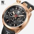 Pulseira de borracha T5 Luxo Ouro masculino Preto Cronógrafo de Quartzo presente do Homem Dos Homens Do Esporte Relógios Do Relógio Dos Homens relógio de Pulso relógio À Prova D' Água