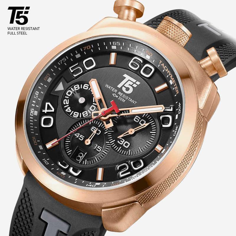 גומי רצועת T5 יוקרה זהב שחור זכר קוורץ הכרונוגרף מתנה עמיד למים ספורט גברים שעון Mens שעונים איש יד שעון