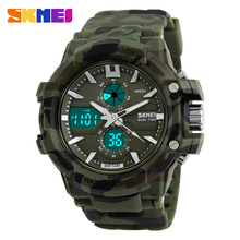 SKMEI Dual Display Watch Military Man Sports Digital Watches Men Quartz Watch 50M Waterproof Male Wristwatches reloj hombre 0990