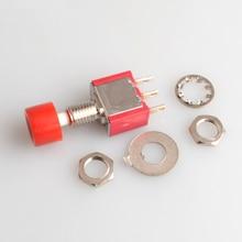 цена на Red 3 Pins SPDT Momentary AC 2A/250V 5A/120V Push Button Pushbutton Switch 1 NO 1 NC