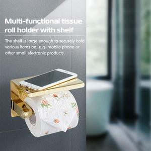 Image 2 - Stainless Steel Toilet Paper Holder with phone shelf bathroom toilet roll paper holder Bathroom Accessories simple design