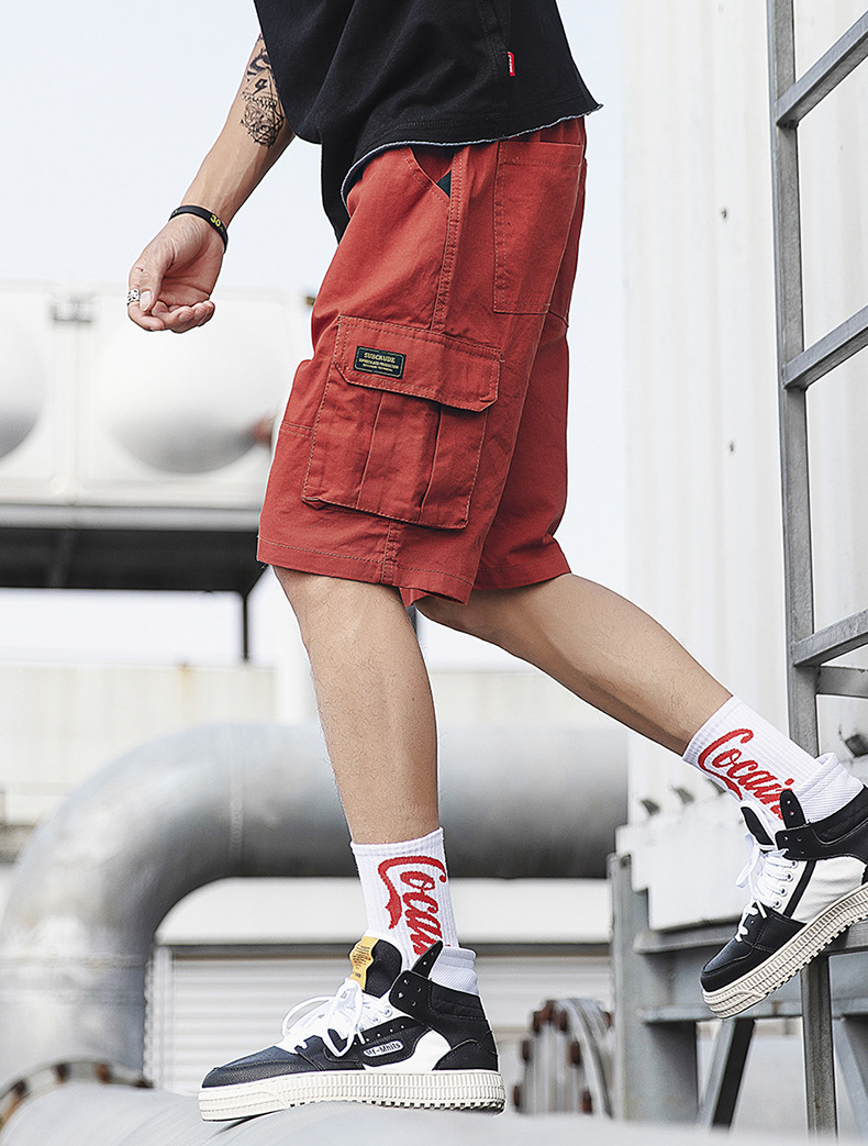 2019 Summer Wear New Men Japanese-style Loose Version Of Loose-Fit Bags Workwear Shorts Trend INS Points Short Casual Pants