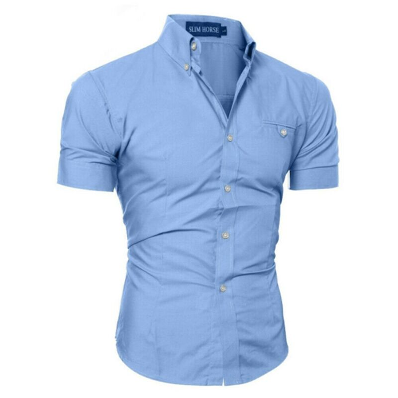 Luxury Men's Slim Fit Shirt Short Sleeve Stylish Formal Casual Shirt Tops Short Sleeve Turndown Collar Social Blouse