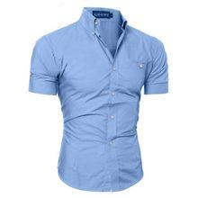 Luxury Men's Slim Fit Shirt Short Sleeve Stylish Formal Casual shirt Tops Short Sleeve Turndown Collar social blouse