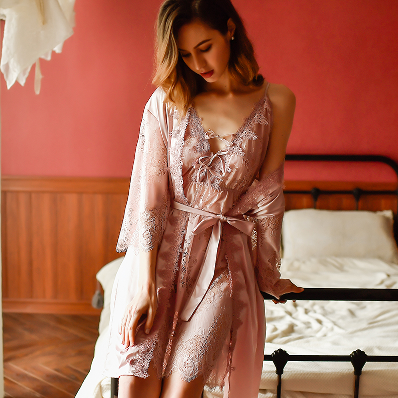 Yhotmeng Sexy Temptation Pajamas Ladies Lace Thin Section Split Backless Openwork Strap V-neck Mesh Transparent Nightdress Set
