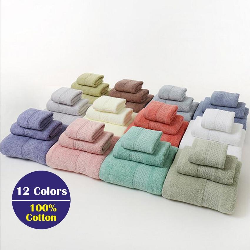 3PCS Towel Set Solid Color Cotton Large Thick Bath Towel Bathroom Hand Face Shower Towels Home For Adults Kids toalla de ducha