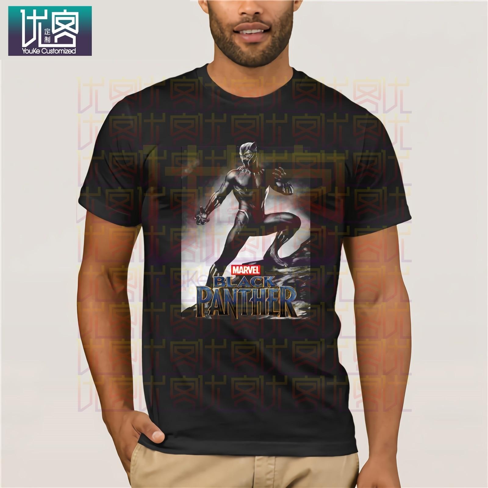 Marca Gildan Black Panther Marvel Poster estilo camisetas 2019 verano hombres de manga corta Camiseta Vintage Crew Neck