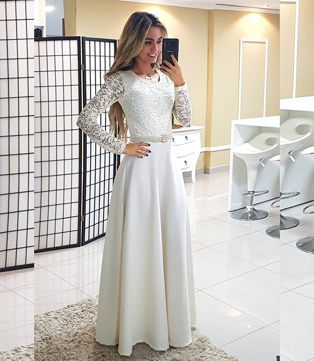 2018 Europe And America Foreign Trade New Style Formal Dress Wish Amazon Hot Selling Crew Neck Lace Long Sleeve Formal Dress Lon