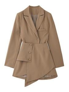 Split-Joint Button-Dress Spring Irregular Fit-Fashion Long-Sleeve Loose Black Women EAM