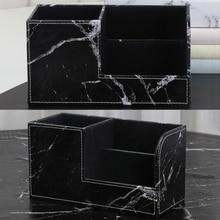 Stationery-Organizer Pencil-Holder Desk Marble Black Storage-Box Business-Cards-Stand