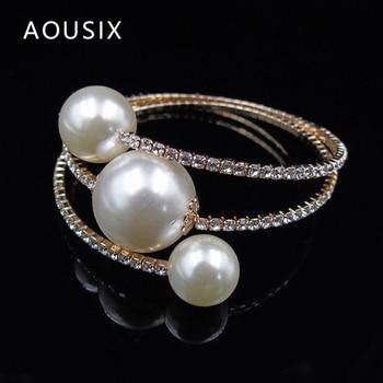 Trendy Rhinestone Silver Plated   pearl bracelet 6