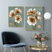 European Retro White Flowers Canvas Painting Vintage Plant Wall Art Oil Pictures Living Room Sofa Background Decoration Posters