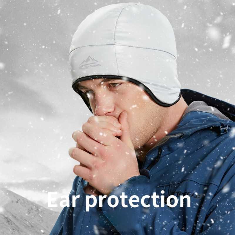 Mannen Vrouwen Winter Outdoor Waterdicht Winddicht Oor-cap Thermische Fleece Gevoerde Down Beanie Hoed Voor Fietsen Ski Wandelen Camping