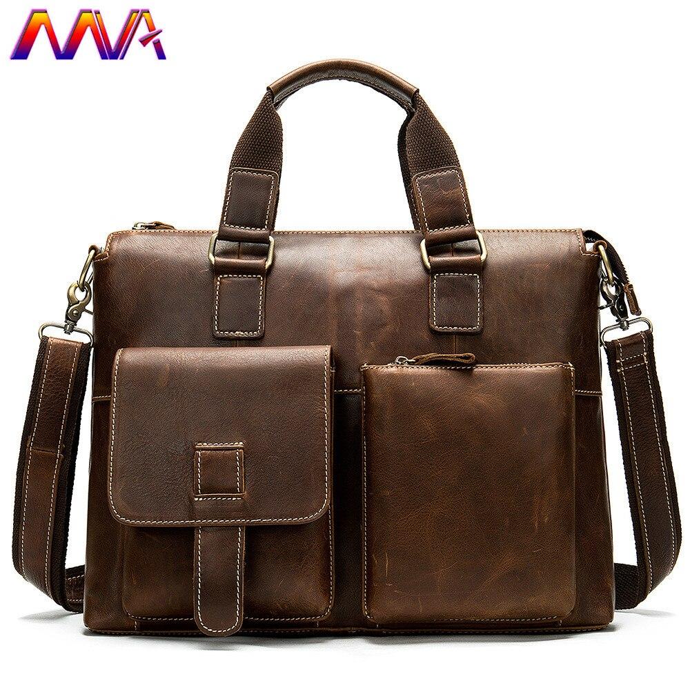 MVA Genuine Leather Briefcase Quality Cowhide Men`s Handbag Fashion Business Men Crossbody Bag 14 Inch Laptop Shoulder Bag