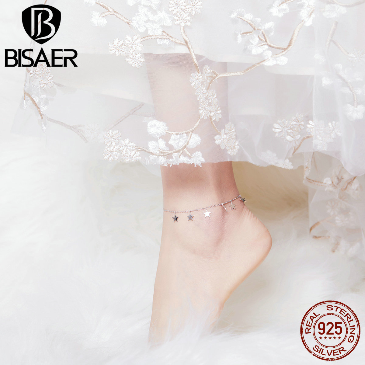 BISAER Simple Stars Female Anklets 925 Sterling Silver Crochet Foot Jewelry On Foot Ankle Bracelets For Women Leg Chain HST008