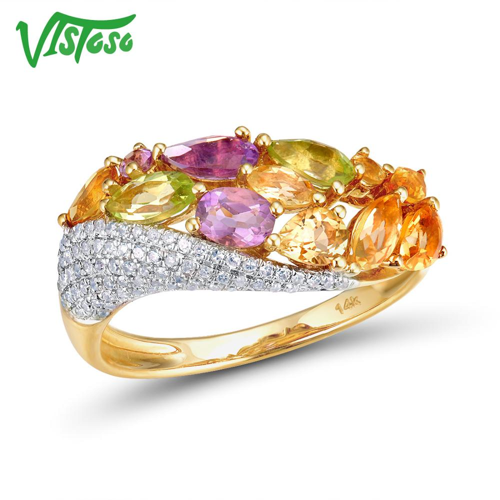 VISTOSO Genuine 14K 585 Yellow Gold Sparkling Diamond Fancy Citrine Amethyst Peridot Lady Ring Anniversary Chic Fine Jewelry