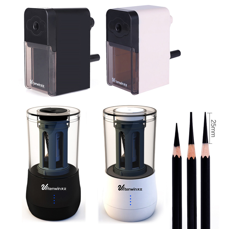 Tenwin Electric Pencil Sharpeners Automatic Pencil Sharpener Kawaii Pen Knife Battery/USB Charge Powered Stationery Supplies