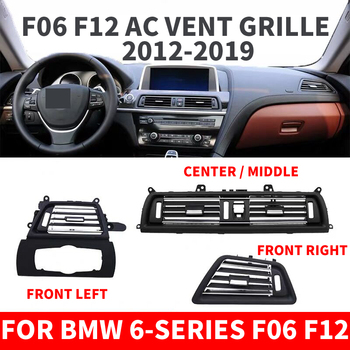 Car Front Row Left Right Console Center AC Air Conditioner Vent Grille Outlet Panel Chrome Plate For BMW 6-series F06 F12 630