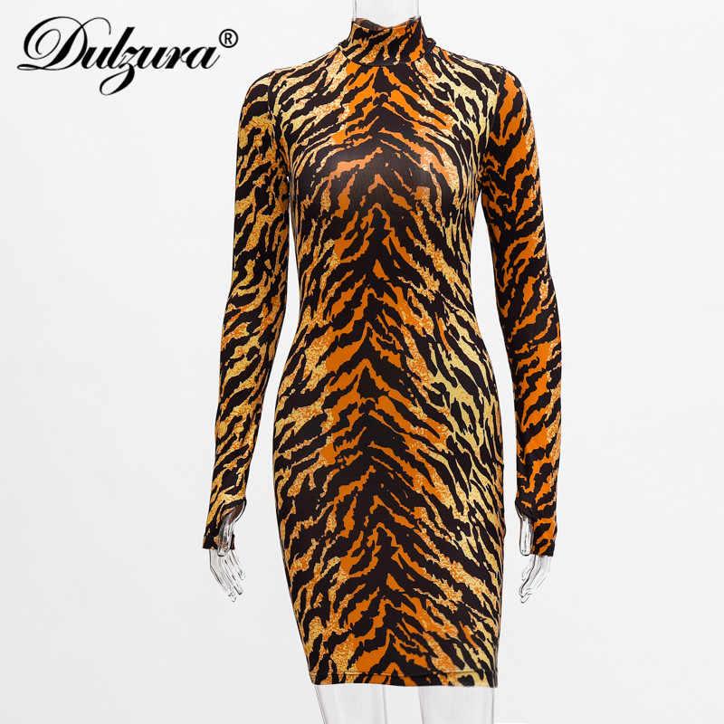 Dulzura для женщин с изображением тигра, комплекты с изображением животных, обтягивающее платье мини перчатки с длинным рукавом пикантные вечерние Фестивальная Одежда Клубная одежда 2019 на осень-зиму