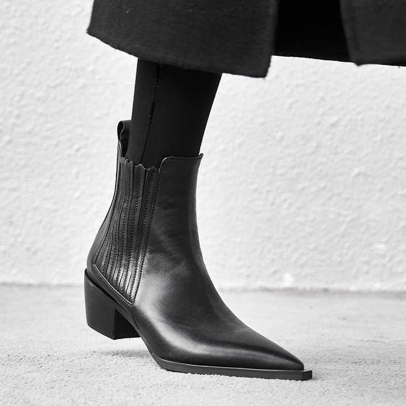 Stivali di Pelle Corto Nero delle Donne della molla di Inverno delle Donne Chelsea Stivali Slip on Stivaletti Stivali per le Donne di Marca Chaussure bottes Femme