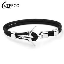 CUTEECO Airplane Anchor Bracelets Men Charm Rope Chain Paracord Bracelet Male Women Air force style Wrap Metal Sport Hook
