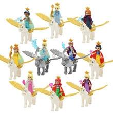 23 Style Friends Princess Girls Figure Fairy Tale Ice Crystal Castle Cinderella Snow White Elsa Anna Doll Building Blocks Toys