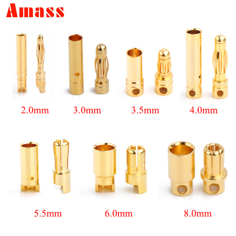 10pcs Amass 2.0mm 3.0mm 3.5mm 4.0mm 5.5mm Gold Bullet Banana Connector 6.0mm 8.0mm Plug For RC Battery 5pairs