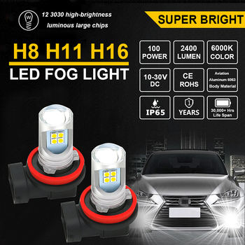 2x H8 Fog Light Bulbs Car LED H11 H16 Led Lamp Auto Super Bright Headlight 12V For BMW E60 E63 E90 E92 E93 X1 X3 X5 X6 M3 M5 M6 image