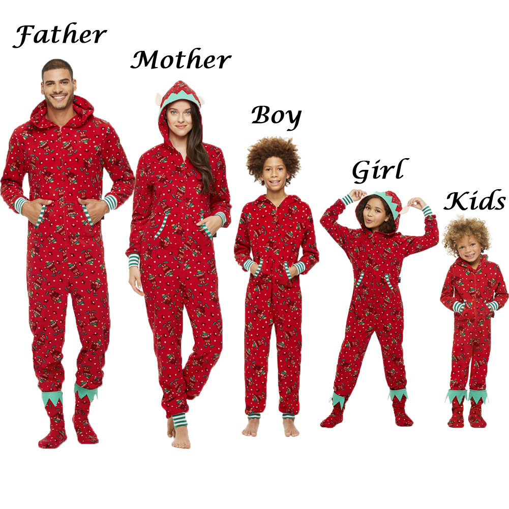 Family Matching Christmas Pajamas Romper Jumpsuit Women Men Baby Kids Red Print Xmas Sleepwear Nightwear Hooded Zipper Outfits