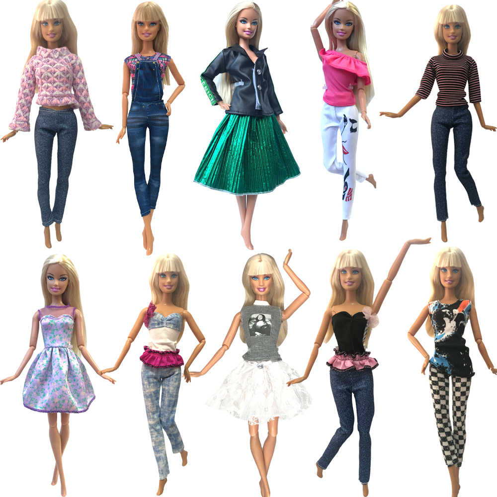 NK 1 Pcs Fashion Wanita Pakaian Kasual Gaun Ungu Rok Pesta Pakaian untuk Boneka Barbie Aksesoris Rumah Boneka Mainan 272N 6X