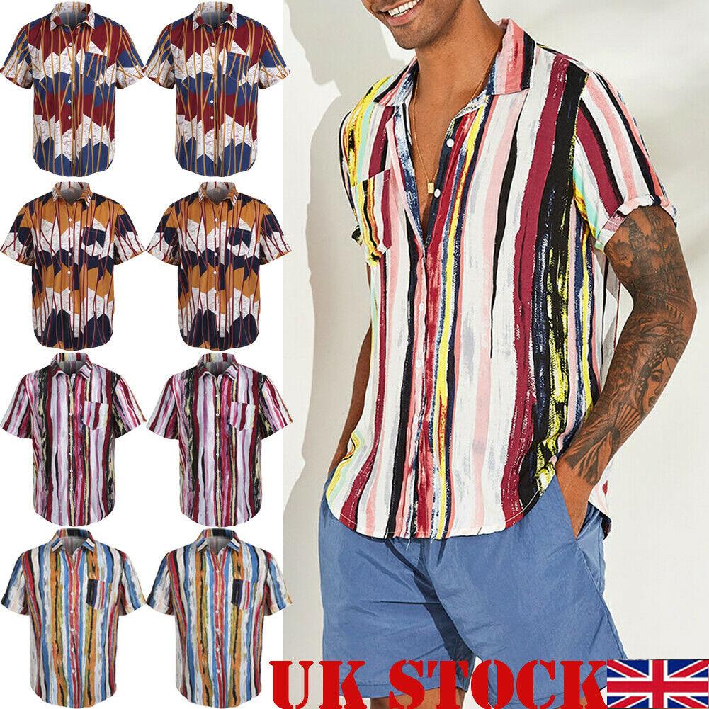 Summer NEW Men Boho Hawaiian Floral Printed Beach Short Sleeve Camp Shirt Loose Tops Blouse Beach Shirt Dropshipping