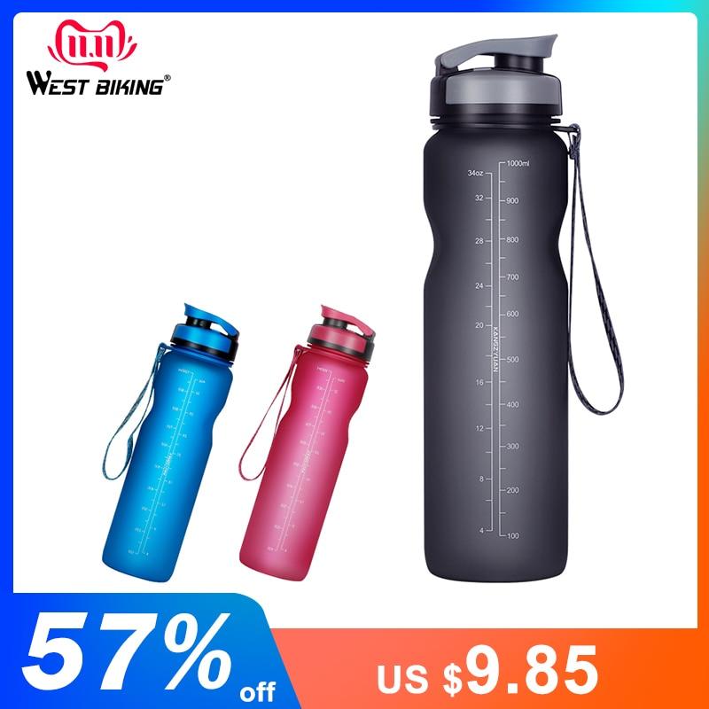 WEST BIKING 1000ML Bicycle Water Bottle Outdoor Drink Leak-proof Cup For Cycling Bike Outdoor Drink Sport Bottle 3 Colors