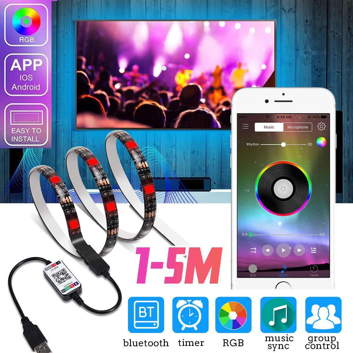 DC5V USB LED Strip RGB 1M 2M 3M 4M 5M Bluetooth APP Control Flexible Light TV Background Waterproof Tape For Apple And Android