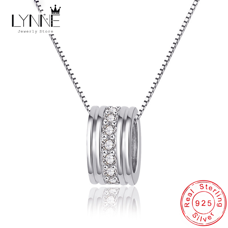 New Fashion 925 Sterling Silver Rotatable Round Zircon Pendants Neckalces&Choker Elegant Rhinestone Necklace Women Jewelry Gift