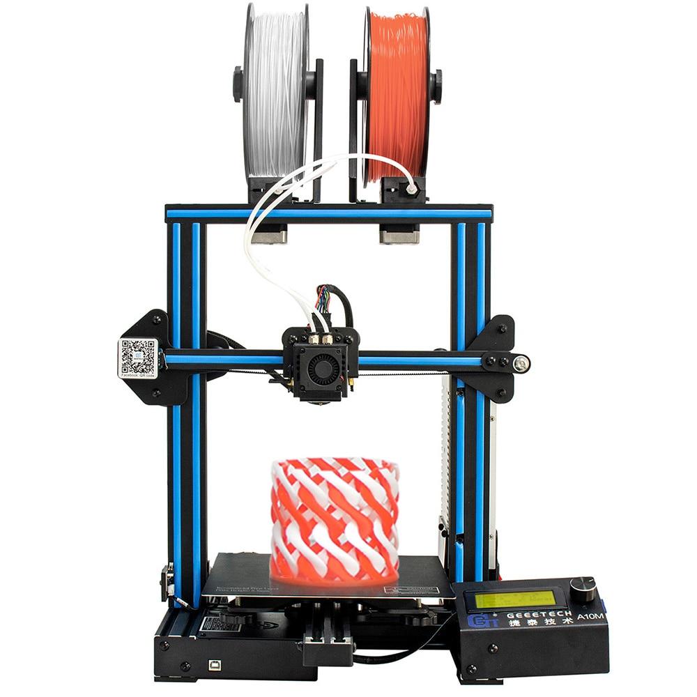 Geeetech A10M 2 en 1 mélange de couleurs assemblage rapide bricolage 3d imprimante Super plaque chauffante détecteur de Filament capacité de reprise